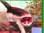Naughty cat on the wall slide puzzle